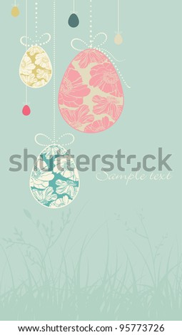 card with easter eggs - stock vector