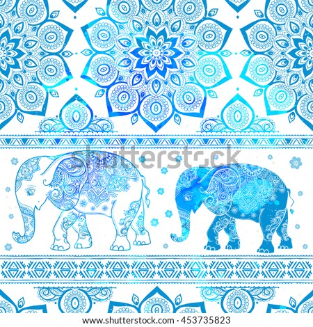 Card with Elephant. Frame of animal made in vector. Pattern Illustration for design, pattern, textiles. Hand drawn map with Elephant. Use for children's clothes, pajamas - stock vector