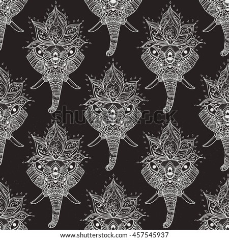 Card with Elephant. Frame of animal made in vector. Pattern Illustration for design, pattern, textiles - stock vector