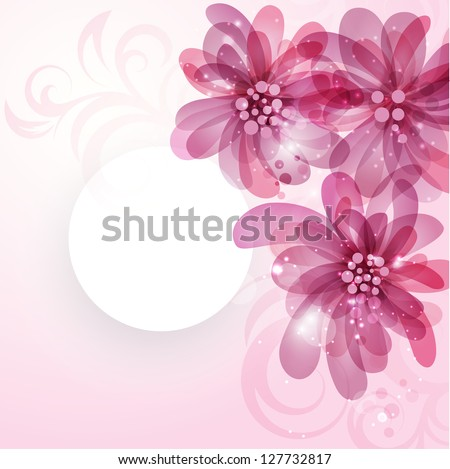 Card with flowers and plot with place for text - stock vector