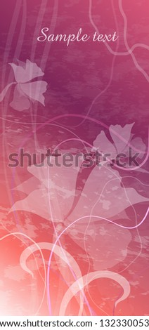 card with flowers on a pink background - stock vector