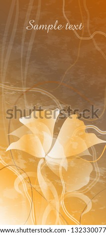 card with flowers on golden background - stock vector