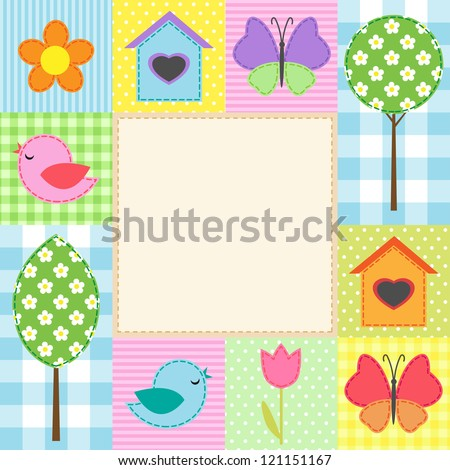 Card with flowers, trees, and butterflies - stock vector