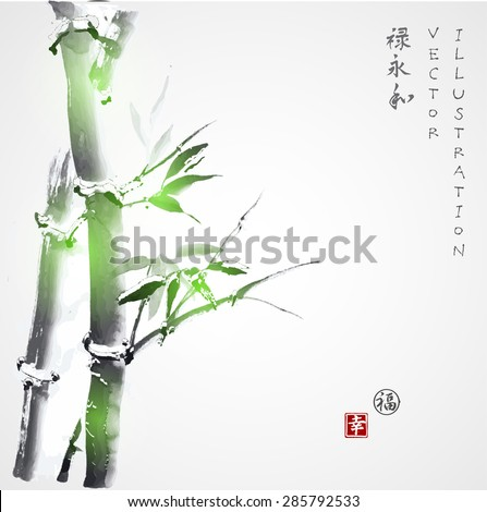 """Card with green bamboo in sumi-e style. Hand-drawn with ink. Vector illustration. Traditional Japanese painting. Contains hieroglyphs """"luck"""", """"happiness"""" (stamps), """"well-being"""", """"eternity"""", """"harmony"""" - stock vector"""