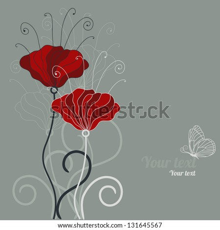 Card with hand-drawn poppy - stock vector