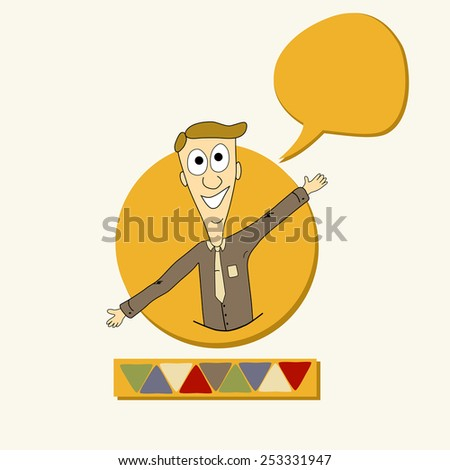 Card with man and speech bubble - stock vector