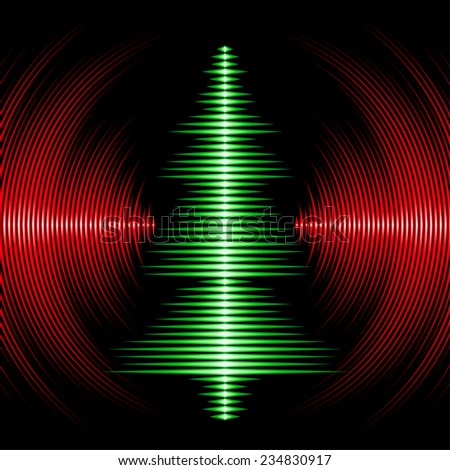 Card with music waveform as christmas tree and vinyl grooves - stock vector