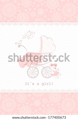 Card with patterned pram stroller, pink transparent veil, singing bird, teddy-bear and floral borders. Vector background. - stock vector
