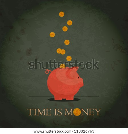 Card with piggy bank and coins. Grunge vector illustration. - stock vector