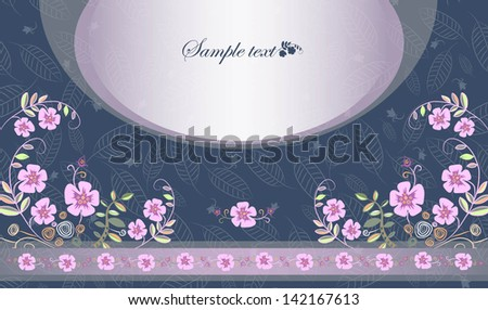 card with pink flowers horizontal - stock vector