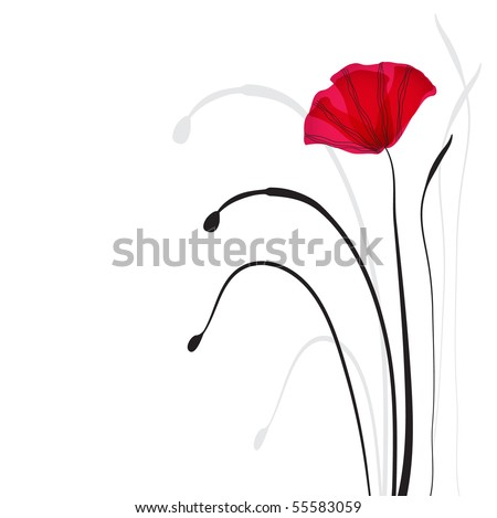 Card with poppies - stock vector