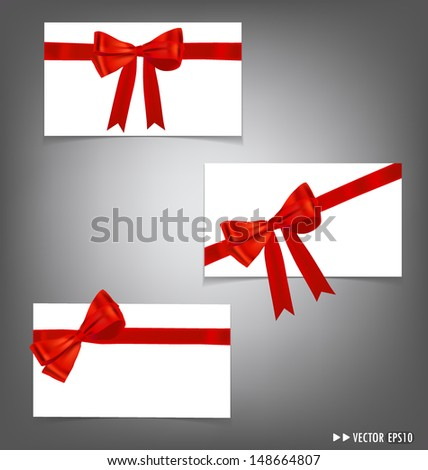 Card with red ribbons bows - stock vector