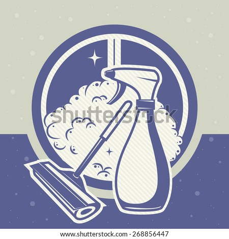 card with scraper and spray for washing windows - stock vector