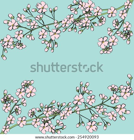 Card with spring flowers on tree branch - stock vector