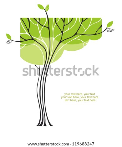 card with stylized tree - stock vector