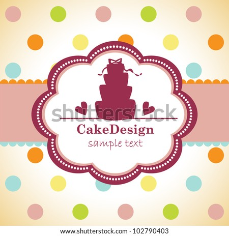 card with sweet wedding cake - stock vector
