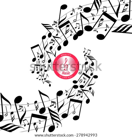 Card with swirls of messy scattered music notes on stave - stock vector