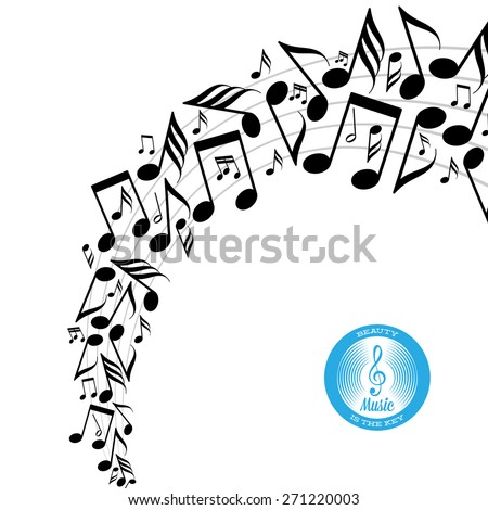 Card with twirl of messy scattered music notes on stave - stock vector
