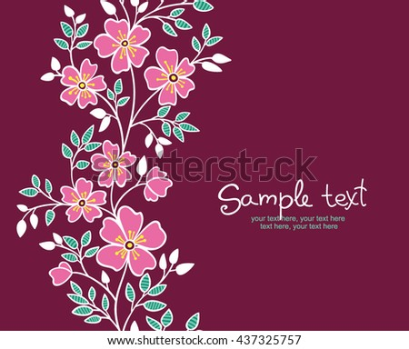 card with vertical seamless pattern. - stock vector