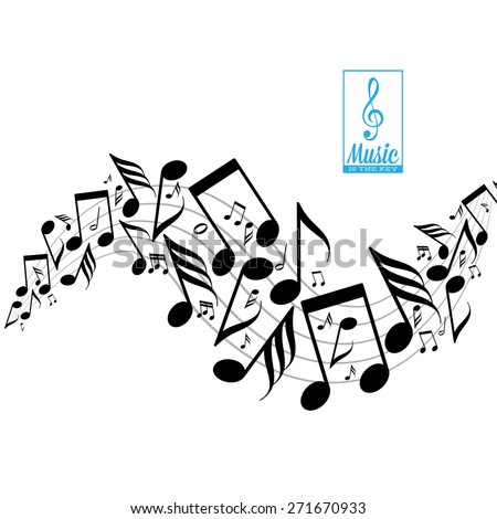 Card with wave of messy scattered music notes on stave. - stock vector