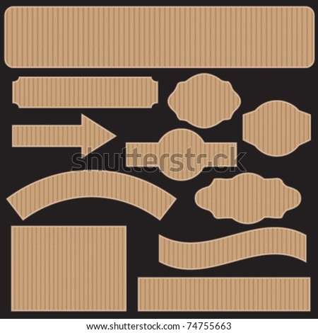 Cardboard banners and labels - stock vector