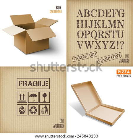 Cardboard box icon and texture. - stock vector