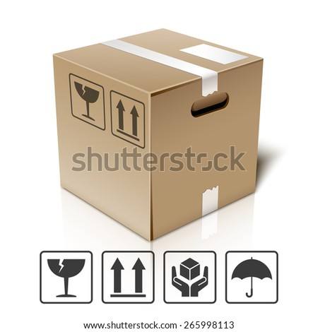 Cardboard box icon with packaging symbols, vector - stock vector