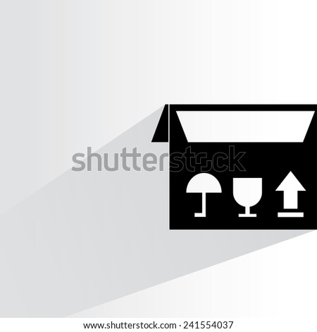 cardboard box on white background, flat and shadow theme - stock vector