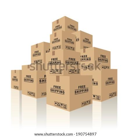 Cardboard boxes carton containers. Vector illustration - stock vector