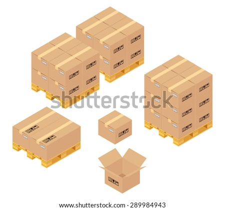 Cardboard boxes in warehouse. Storage, delivery and logistics services.  Transportation and warehouse, container and pallet, conveyance and product. Vector illustration - stock vector