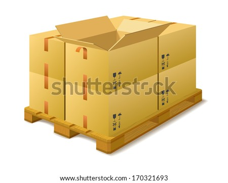 Cardboard boxes on a pallet in a warehouse on a white background. - stock vector