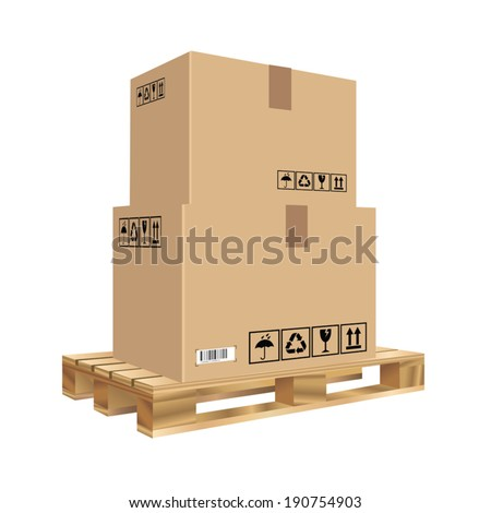 Cardboard boxes set on a wooden pallet. Vector illustration - stock vector