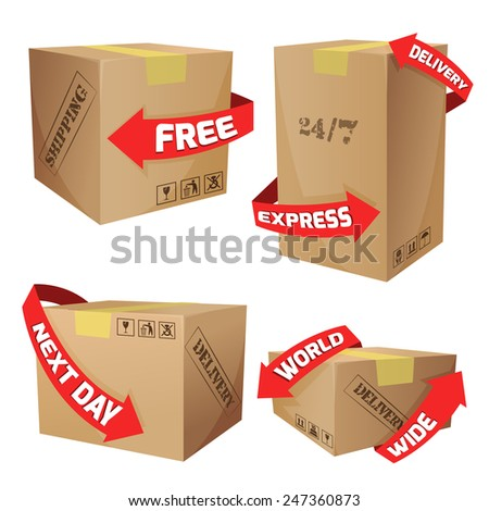 Cardboard boxes set with red arrows and delivery symbols isolated vector illustration - stock vector