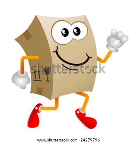 cardboard cartoon character vector 3 - stock vector
