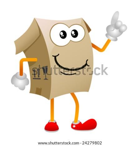cardboard cartoon character vector 1 - stock vector