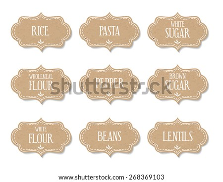 Cardboard food labels or stickers. Can be used to mark kitchen food containers. - stock vector