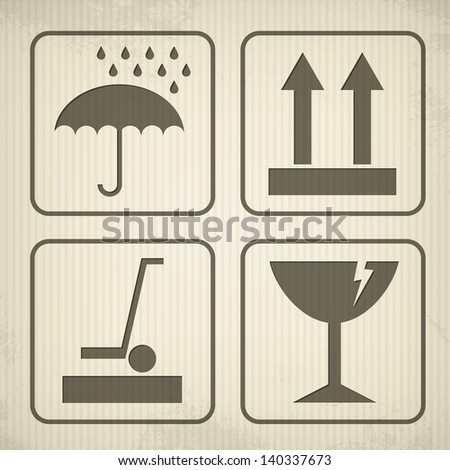 Cardboard packaging symbols isolated on background. Each symbol in separately folder. - stock vector