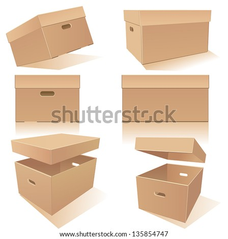 Cardboard�´s boxes set with handles and lids in different positions - stock vector