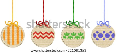 Cardboard X-mas Balls Set. Smartly layered and grouped. - stock vector