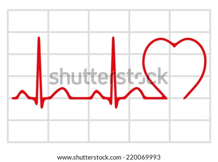 Cardiogram icon isolated on white background, vector illustration - stock vector