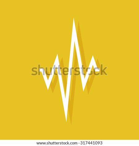 Cardiogram icon with shadow on yellow background. Wave logo. White wave logo. Yellow abstract background. Heartbeat wave. Heartbeat logo. Heart beat line. Heart cardio vector Simple elegant background - stock vector