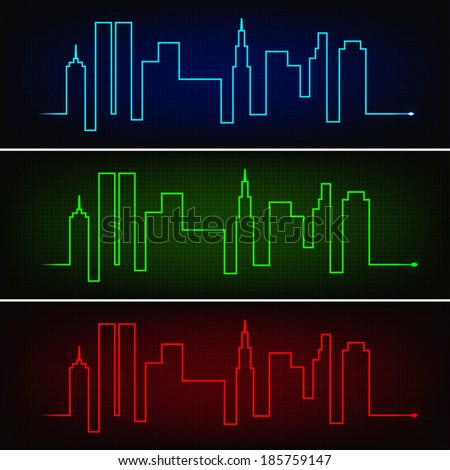 Cardiogram line forming city skyscrapers silhouettes in three neon colors - stock vector
