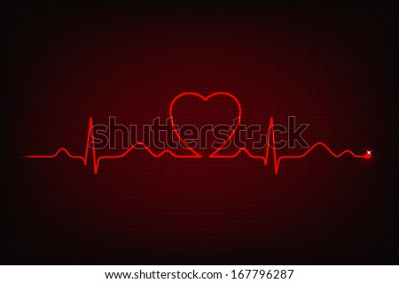 Cardiogram line forming heart shape - stock vector
