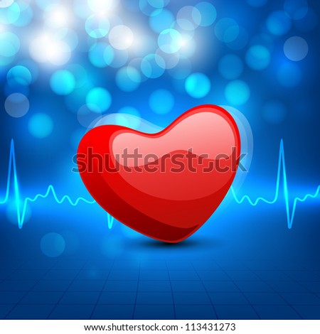 Cardiogram with red heart shape on blue background. EPS 10. - stock vector