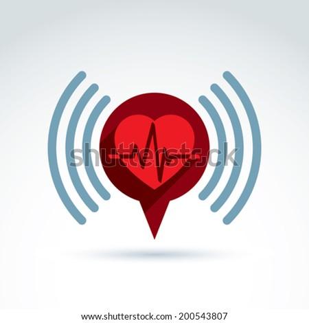 Cardiology cardiogram heart beat information icon, vector conceptual special icon for your design. - stock vector