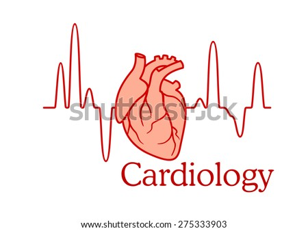 Cardiology concept with an ECG tracing of the heart beat and heart in a healthcare and medical concept - stock vector
