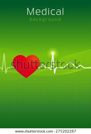 Cardiology design over green background vector illustration. Medical cardiology background - stock vector