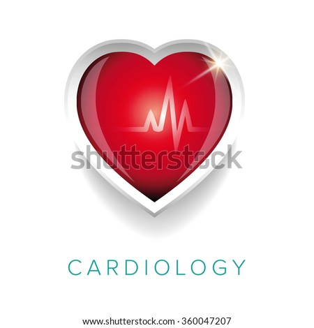Cardiology design with heart - stock vector