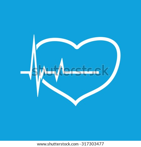 Cardiology icon, simple white image of heart and incoming pulse isolated on blue background - stock vector