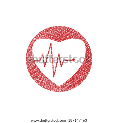 Cardiology icon with heart and cardiogram, vector icon with hand drawn lines texture. - stock vector